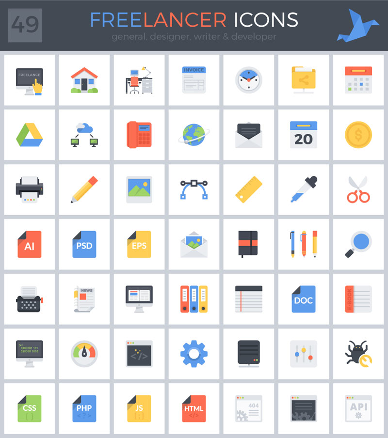 Freebies: Beautiful Freelancer Icon Set For Your Business