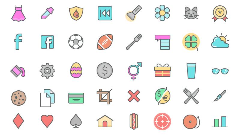 Playful Color Line Icon Set