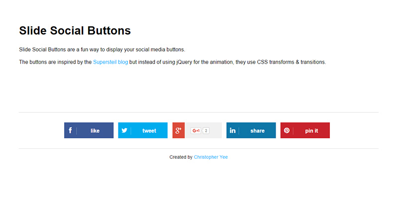 Slide Social Buttons