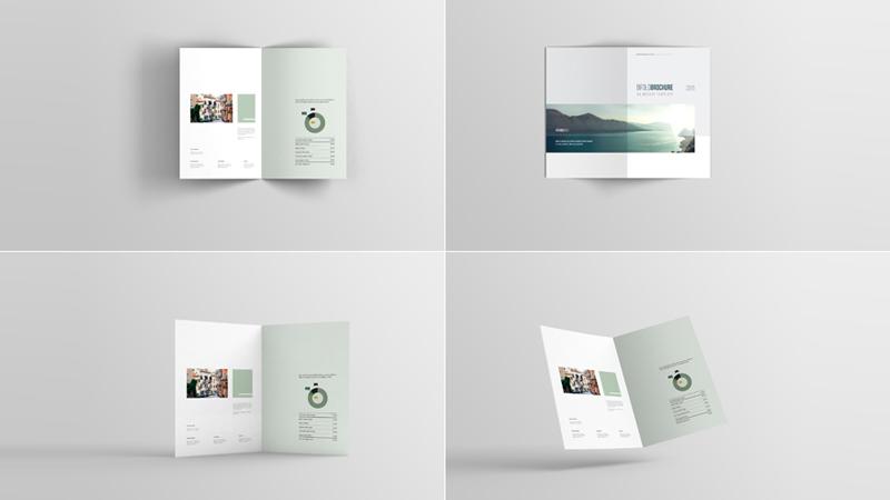 A4 Bifold Brochure Mockup Set