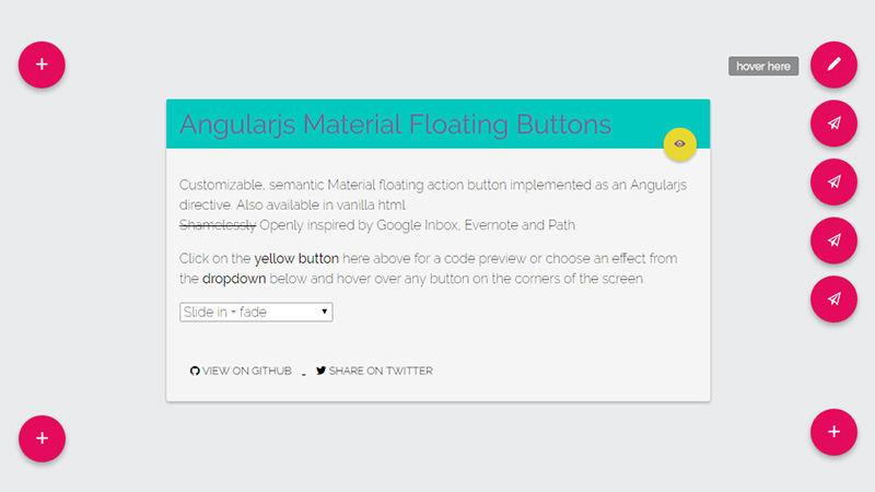 Angular.js Material Floating Button Directive