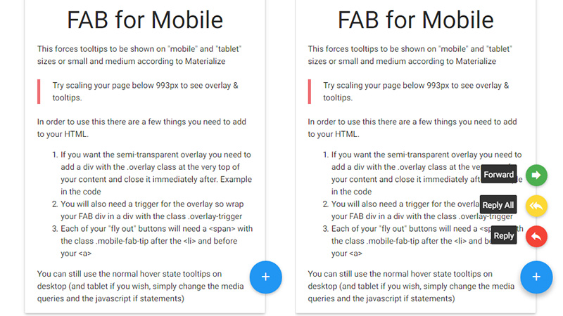 Materialize FAB Tooltips for Mobile & Tablet