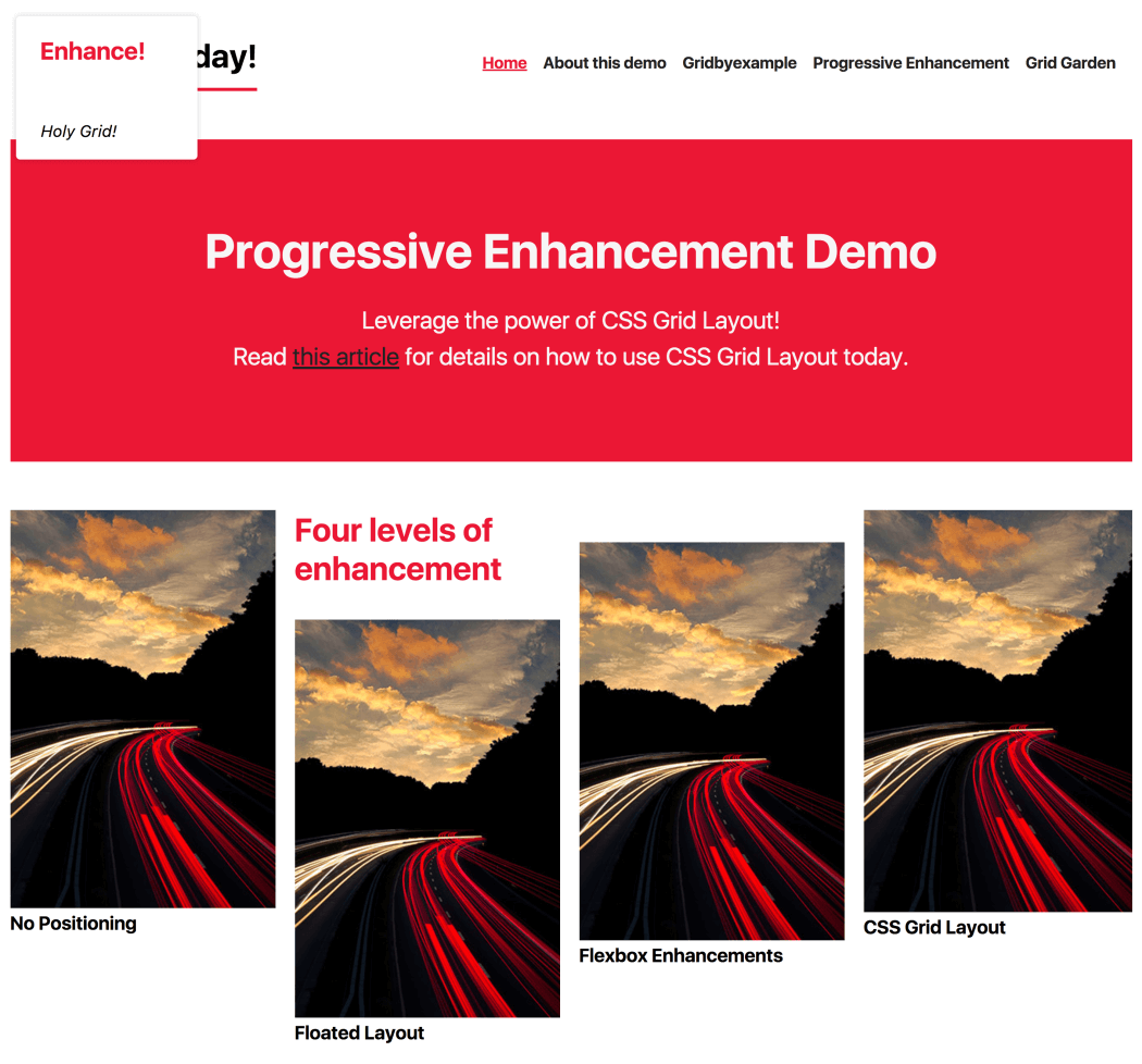 Progressively enhanced CSS Layout, with Flexbox and CSS Grid.