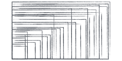 Multiple overlapping rectangles illustrating a high amount of different viewport sizes