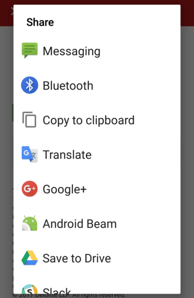 Screenshot of the share menu on Android with options for sharing via Messaging, Bluetooth, Copy to clipboard, and so on.