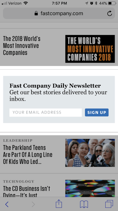 Example of a subscriber form that could be in a pop-up but isn't