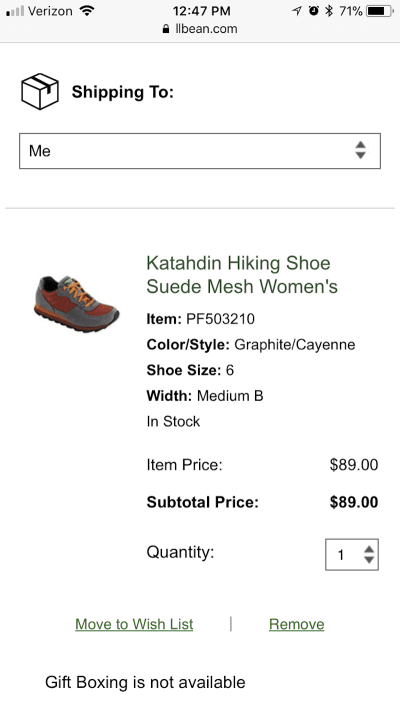 L.L. Bean wish list option
