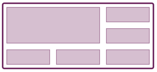 Image shows a grid with several one cell areas and an area spanning two rows and two columns.