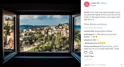 Sharing user content helps you get to that user's audience. Airbnb uses such content to show off its users' talents behind the camera.