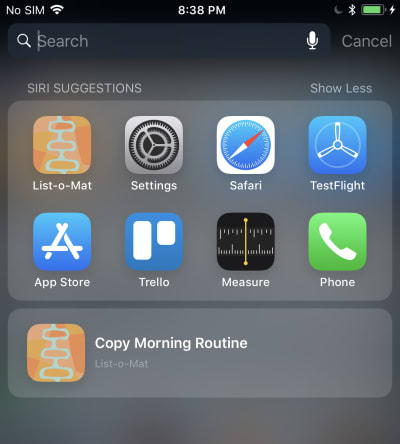 Screenshot of the donated shortcut in Siri