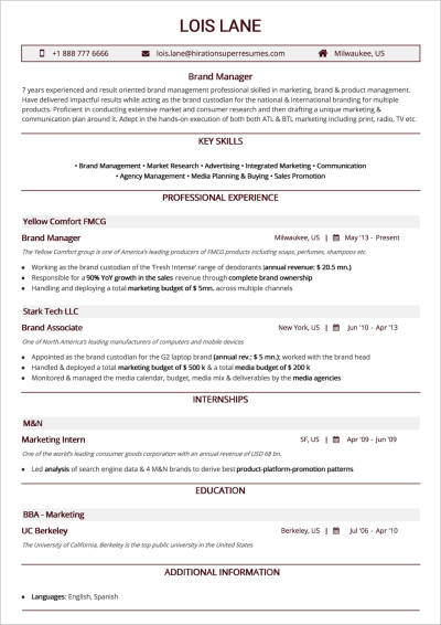 Reverse-Chronological Résumé