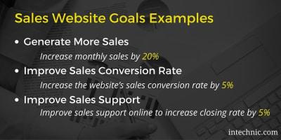 Sales website goals examples, including generating more sales, improving sales conversion rate, and improving sales support