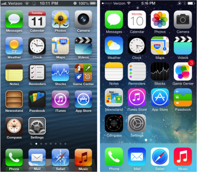 iPhone's home screen (iOS 6 versus iOS 7).