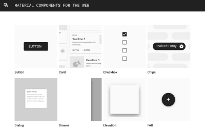A screenshot of Google's material components website – showing various components.