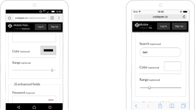input type=range and input type=color on Android and iOS