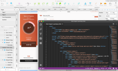 Screenshot of the sketch program and visual studio code with the code for the design.