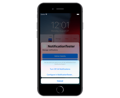 iPhone 8 Plus shown with Turn Off selected from notification which brings up the Turn Off All Notifications and Configure in NotificationTester options.