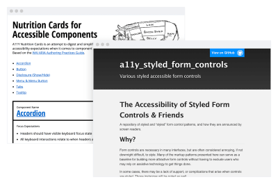 A screenshot of homepage for the a11y Styled Form Controls website placed over a screenshot of the Nutrition Cards for Accessible Components website.