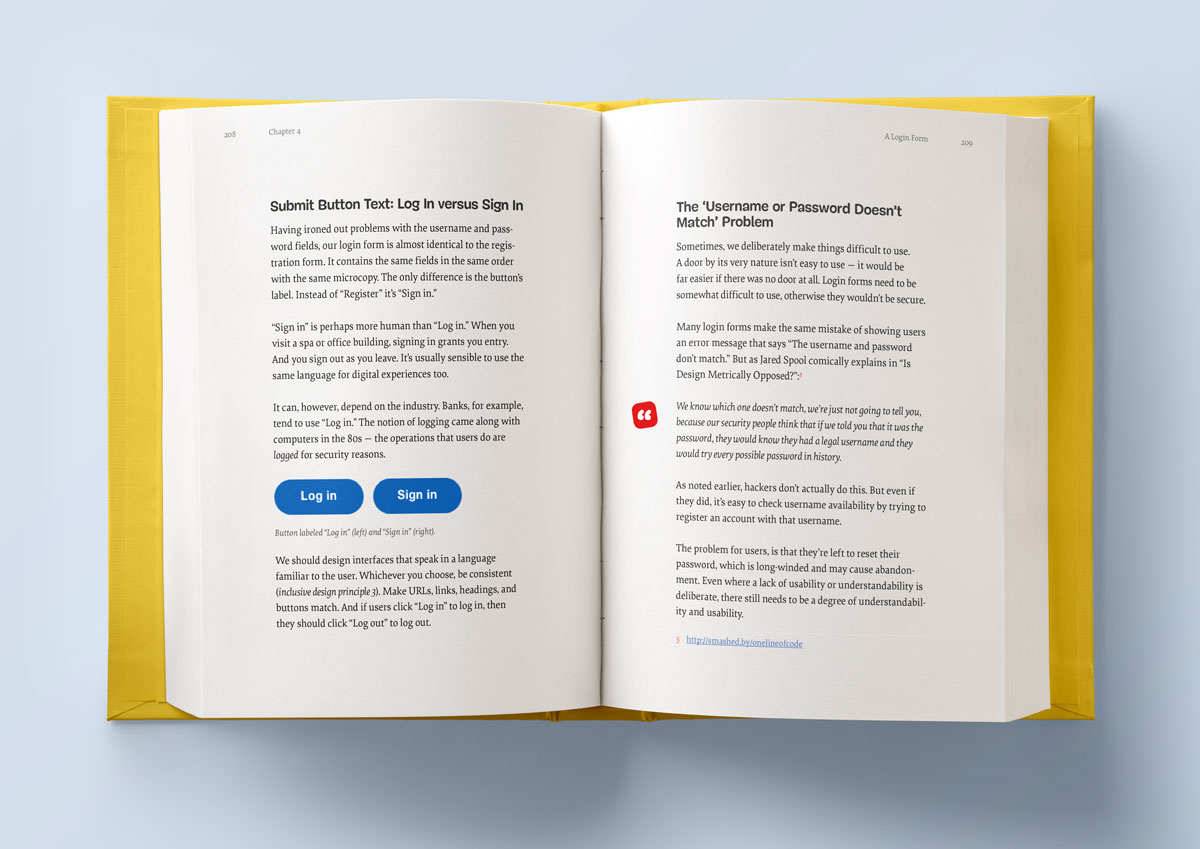 The inner pages of Form Design Patterns, wrapped inside a yellow hardcover book that lies on a light blue table. The pages shown are covering how to choose the right copy for Login buttons, and also cover the infamous Username and Password Doesn't Match Problem