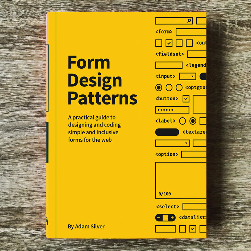 The Form Design Patterns book is a hardcover book with a yellow cover and black text on it