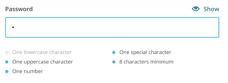 MailChimp's password field with instructions that get marked as the user meets the requirements.