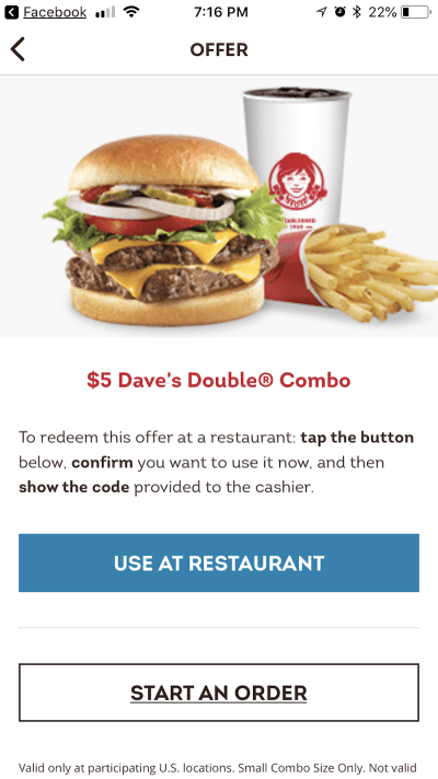 Wendy's in-restaurant offers