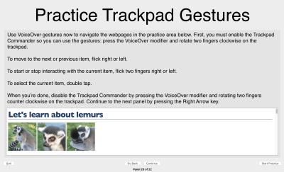 screenshot of 'Practice Trackpad Gestures' VoiceOver tutorial screen
