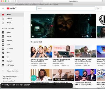 screenshot of YouTube homepage