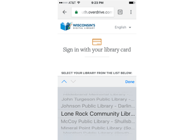 Searching for the desired library name in alphabetical order in Wisconsin's digital library