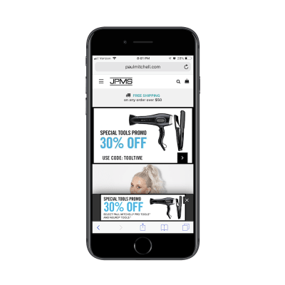 Duplication of mobile pop-up on Paul Mitchell