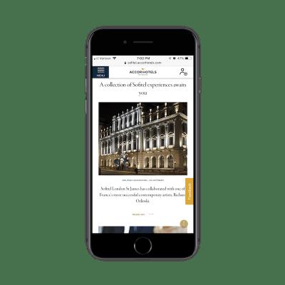 Sofitel Feedback widget on mobile