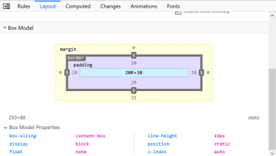 The Box Model Panel in Firefox DevTools