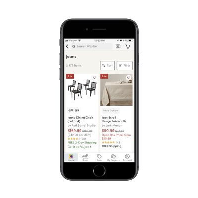 Wayfair app search filters