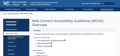 The homepage for the Web Content Accessibility Guidelines Overview
