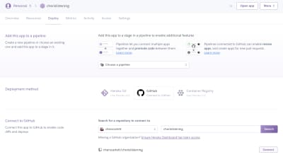 Repository selection in Github on a screenshot of the dashboard area of Heroku