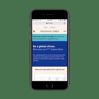 Financial Times PWA subscription