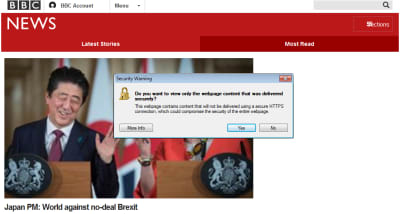"Screenshot of BBC homepage with ""Security Warning"" browser popup"