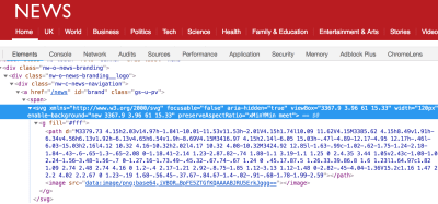 Screenshot of Chrome BBC News logo with devtools open
