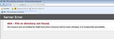 Screenshot of default homepage of IE8 not loading