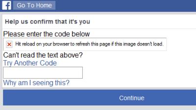 Screenshot of CAPTCHA message, but CAPTCHA image failing to load
