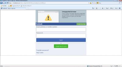Screenshot of Facebook mobile