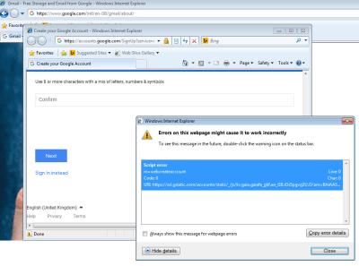 Screenshot of Gmail error