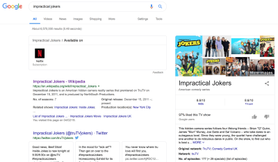 Screenshot of Google Chrome search results for Impractical Jokers