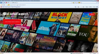 Screenshot of Netflix homepage