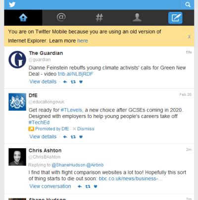 Screenshot of Twitter feed