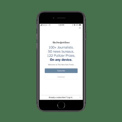 New York Times app subscription