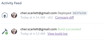 A screenshot of the Heroku dashboard activity feed showing the build triggered by our auto-deployment - the commit ID from Github from the most recent merge is shown, along with links to the code diff and the build log