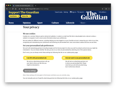 the-guardian 'your privacy' page