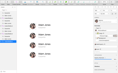 Create a contact list using Indigo.Design's avatar and text component sections