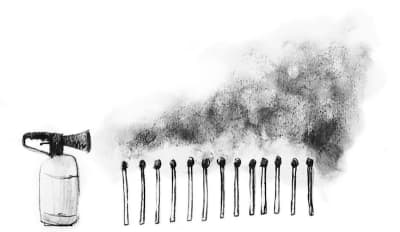 Illustration of a fire extingisher extinguishing matches